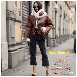Zara Kick Flare Black Wax Coated Cropped Jeans